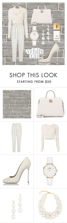 """white outfit"" by cecilvenekamp ❤ liked on Polyvore featuring Wall Pops!, Gucci, River Island, A.L.C., Dsquared2, Daniel Wellington, Rebecca Minkoff, Dominique Denaive and Yves Saint Laurent"