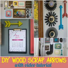 DIY HOME DECOR | Check out the video tutorial to make these scrap wood arrows. I have them in literally EVERY gallery wall in my home. They are perfect for filling those awkward spaces between frames!
