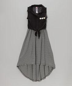 Black Stripe Tie-Front Hi-Low Dress by Beautees #zulily #zulilyfinds