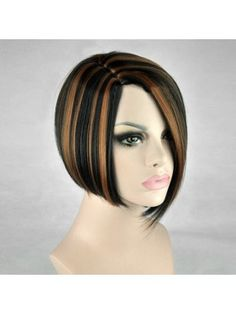 Short Side Parting Highlight Straight Bob Synthetic Wig Short Side Bangs 9aa56782e
