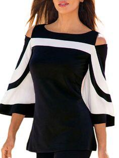 2019 Women Elegant Shirt Sleeve Open Shoulder Blouse Ladies Flare Sleeve OL Style Tops Camisa Feminina - Blue S United States Off Shoulder Bluse, Cold Shoulder Shirt, Shoulder Shirts, Shoulder Tops, Shoulder Sleeve, Bluse Outfit, Vetement Fashion, Fashion Mode, Style Fashion