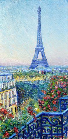 "Eiffel tower, Original painting by Levent Deparis, 24""x12"", Oil on canvas, #Impressionism"