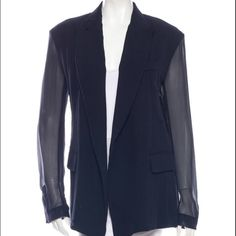 Céline Navy Sheer Silk Blazer Brand new. Even though this is a larger size it looks amazing as an oversized look because it's sheer. 100% Mulberry Silk. Make me an offer/trade. Size 42 European. Celine Jackets & Coats Blazers