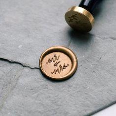 'Mr + Mrs' Wax Seal Stamp featuring handwritten calligraphy by Ettie Kim Seal Size: inch) Wedding Tips, Fall Wedding, Wedding Favors, Wedding Planning, Wedding Invitations, Dream Wedding, Wedding Events, Wedding Decor, Wedding Greenery