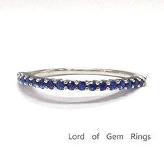 Blue Sapphire Wedding Band Half Eternity Anniversary Ring 14K White Gold,Thin Design - Lord of Gem Rings - 1