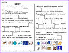 Psalm 8 - Color, Cut and Paste Pictures - Kids Korner - BibleWise - Chouette idée pour inspiration