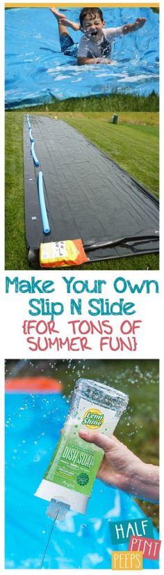 Make Your Own Slip N Slide {For Tons of Summer Fun} | DIY Slip N Slide, Slip N Slide Summer Projects, Make Your Own Slip N Slide, DIY Projects for Kids, Kid Stuff, Projects for Kids, Summer Projects for Kids, Summer Break Activities