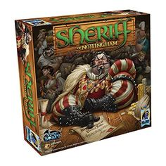 "Sheriff of Nottingham -- ""An exciting game of bluffing, bribery & smuggling! As a merchant, you want to make as much profit as you can with your goods, but first you'll have to get past the notorious Sheriff of Nottingham!"""