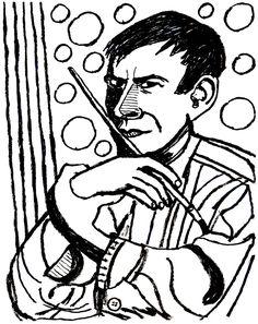 """Entweder ich werde berühmt - oder berüchtigt."" / ""I will either be famous or infamous."" - Otto Dix ........ Tuschepinsel auf Papier / Ink brush on paper, 40 x 50 cm ......... オットー・ディクス Caricatures, Otto Dix, Cartoons, Ink, Paper, Oder, Brushes, Cartoon, Cartoon Movies"