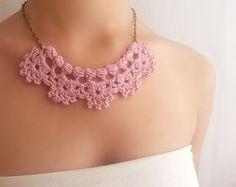 Collar crochet Set de boda dorado Joyería nupcial por DIDIcrochet