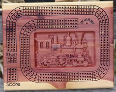 Antique Train Cribbage Board Travel Games Card Games Train Games Wood board games Games with cards l Cribbage Board, Woodworking School, School Programs, Carpentry, Card Games, Wood Projects, Natural Colors, Great Gifts, Things To Come