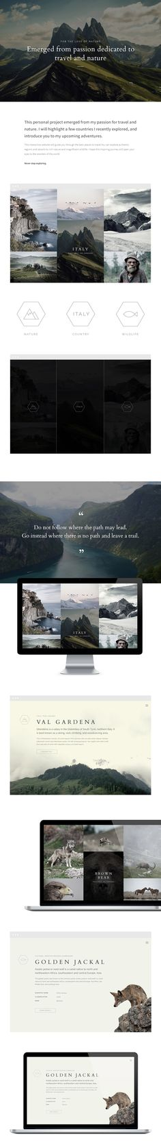 """FTLON is a concept for a website I had in mind for quite a while. It documents my travels in a creative way. You can choose your """"country"""" and filter """"nature"""" or """"wildlife"""" to enjoy its flora and fauna. * This is a personal project, and is fictional (no…"""