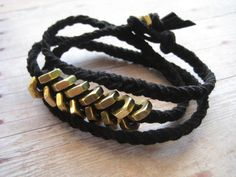 Black Leather Wrap Bracelet by JewelryMadebyMaggie, $30.00