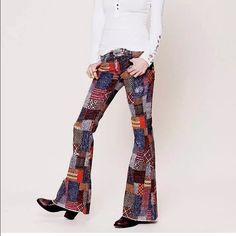 ISO free people patchwork flares Looking for size 25-28 Free People Pants