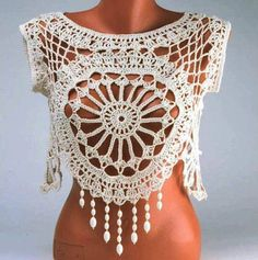 I love to crochet. I love to search out pictures of crochet as inspiration for future projects. I'm always looking for pictures of beautiful things done in crochet. I'm looking for inspiration, not. Pull Crochet, Gilet Crochet, Crochet Blouse, Love Crochet, Crochet Shawl, Crochet Lace, Crochet Stitches, Crochet Tops, Beautiful Crochet