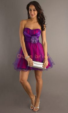 short sweetheart prom dresses in purple and fuchsia  by Charmbride