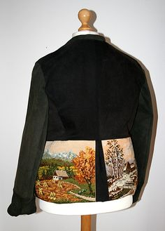 Vierjahreszeiten-Blazer Upcycling aus Stickbildern und alten Jeans Rückseite