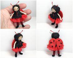 Ladybug bendy doll. Handmade by www.pntdolls.com