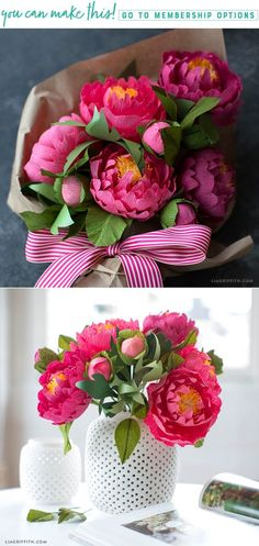Craft a bouquet of gorgeous heavy crepe paper peonies - Lia Griffith - www.liagriffith.com #paper #paperart #paperlove #papercraft #papercrafs #papercut #crepepaper #crepepaperflowers #crepepaperrevival #diyinspiration #diyproject #diyprojects #madewithlia