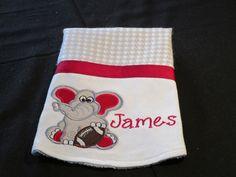 Boy Elephant Burp Cloth Football Burp Cloth by SewOriginalBoutique
