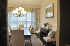 neutral and warm dining room decor