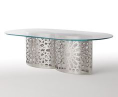 lazer cut steel table glass top racetrack modern highend designer