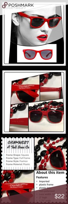 🆕CAM•WEST Red Fashion Unisex sunglasses 😎 Red fashion sunglasses by CAM•WEST, a Toll Bros. Co. Same classic design as the Wayfarer. NWOT & New in package! See description in photos. Cam•West Accessories Glasses
