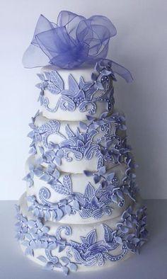 Whimsical Lilac Flower & Vines Applique Cake...