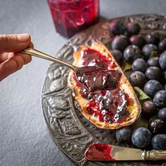 This sloe and blackberry hedgerow jam is a superb way to preserve your foraged autumn berries for winter. It's a grown up jam that isn't too sweet and packs a flavour punch! #hedgecomber #hedgecomberskitchen #wildfood My Jam, Jam Recipes, Preserve, Blackberry, Acai Bowl, Punch, Dairy Free, Berries, Vegetarian