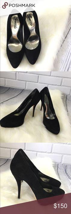 Gucci Sofia Pumps Size 36.5/6.5 Gucci Sofia Black Suede Heels.  Some minor scuffs and scrapes.  Still a beautiful shoe!! Gucci Shoes Heels
