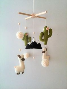 Llama and Cactus Nursery Mobile Baby Mobile Felt Cactus