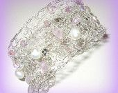 Modern Wire Knit Lacy Cuff Bracelet, White Freshwater Pearl, Lavender Amethyst Semi Precious, Crystal, Custom Made, Sereba Designs