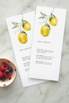Lemon Citrus Wedding Menu — Design by Laney Wedding Menu, Wedding Cards, Wedding Events, Dream Wedding, Wedding Day, Wedding Catering, Wedding Gowns, Rustic Wedding, Wedding Sites