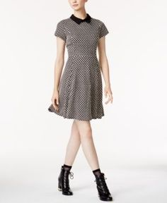 Maison Jules Collared Fit & Flare Dress, Created for Macy's - Black XXS