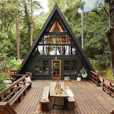 Inverness A-Frame ( Cabin Design, House Design, A Frame Cabin Plans, Casa Patio, Forest House, Forest Cabin, Cabin Homes, Cabins In The Woods, Exterior Design