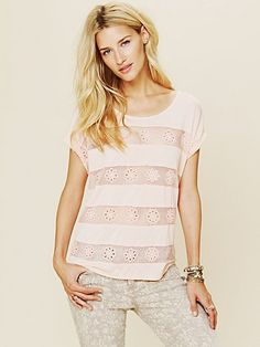 Flower Eyelet Stripe Tee