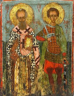 Icon of St. Athanasius and St. Demetrios, Byzantine (Thessaloniki region), 15th century, 34.5 x 26.3 cm