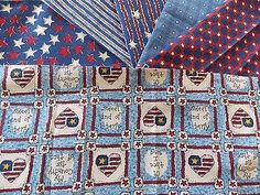 Estate Fabric Quilt Craft Stash Lot 6 USA Star America Heart Vintage Country +++