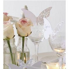 Platzkarten - Laser-Cut Schmetterling - Weiss - 10er Pack - Online Hochzeitsshop
