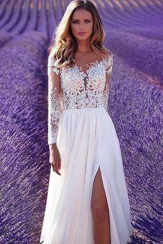 2017 Bateau Slit Wedding Dresses A Line Long Sleeves Chiffon With Applique US$ 179.99 PTPBEAY61F - PromsTimes.com for mobile