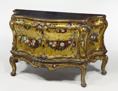 3/4 left / Commode; Unknown; Venice, Veneto, Italy; about 1745 - 1750; Painted, gilt, and silvered oak; 81.6 x 147 x 62.6 cm (32 1/8 x 57 7/8 x 24 5/8 in.); 83.DA.282