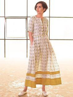 Buy Cream vy Navy Box Pleated Handloom Ikat Cotton Dress Apparel Tops & Dresses Whimsical Weaves Handwoven Online at Jaypore.com