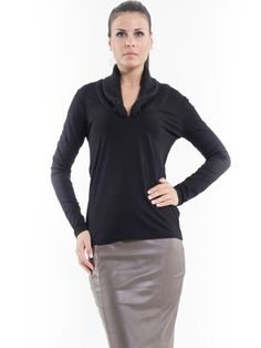 #AdoreWe #StyleWe Tops - Conquista Black Paneled Long Sleeve V Neck Long Sleeved Top - AdoreWe.net