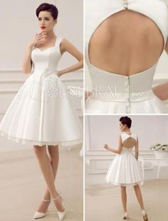 A-linie Satin Herzförmiges Bustier quadrater Ausschnitt Rückensfreies Brautkleid #Brautkleider #wedding dresses schoenebraut.com