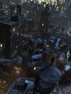 """Batman: Arkham City (Rocksteady Games, 2011)""""Watchtower""""Tools and tricks: Debug build supplied by Rocksteady Studios/modified retail build. Free camera, timestop, custom FOV, 4K rendering/8K tiledshot. Monochrome 'comic' shots: pause menu effect using modified shader w/ overlay removed via Texmod."""