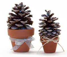 Snowy Pinecone Tree -- Use pinecones, twigs, and other natural objects to create inexpensive gifts for friends and family.