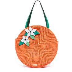 Kate Spade New York Straw Orange Tote (435 BAM) ❤ liked on Polyvore featuring bags, handbags, tote bags, multi, woven tote, red tote, kate spade handbag, woven straw tote and tote handbags