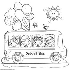 Children School Bus Coloring Pages Easy Coloring Pages, Animal Coloring Pages, Coloring Sheets, Coloring Books, Drawing For Kids, Painting For Kids, School Bus Drawing, Bus Crafts, Bus Cartoon