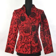 Shanghai Tone® Womens Oriental Asian Chinese Traditional Embroidery Elegant Floral Long Jacket Blazer Coat Outwear Tang Suit Red Available Sizes: 0, 2, 4, 6, 8, 10, 12 Shanghai Tone,http://www.amazon.com/dp/B00CK2UVFU/ref=cm_sw_r_pi_dp_kG4qtb02HFW798MW