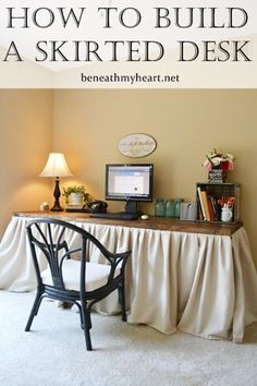 Hide your clutter with a skirted desk! Great tutorial!